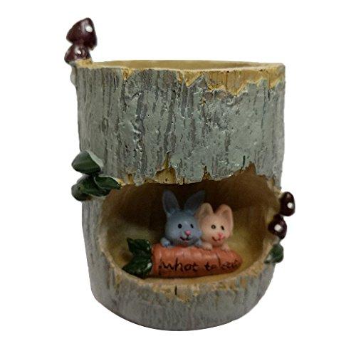 Mini Paysage de Minuature en Résine Fleur Sedum Pot Succulente Lit Planteur Bonsaï Boîte de Plante - Lapin