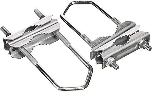 HD-LINE 2X Doppelschelle Sat Mast Schelle Zahnschelle bis 60mm verzinkt Balkon, Silber 4