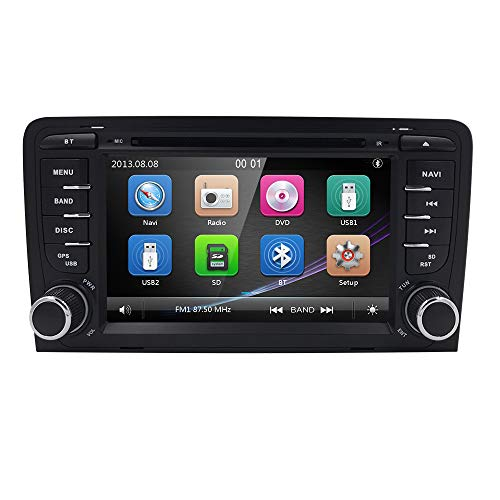 hizpo Auto Radio Multimedia Player para Audi A3 S3 RS3 2003-2012 Soporte GPS Navi Bluetooth Dab + Subwoofer USB MicroSD Pantalla táctil de 7 Pulgadas