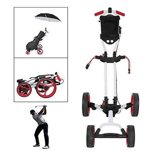 Best Price HSART 4 Wheels Golf Cart Folding Hand Carts One-Click Disassembly Easy Push and Pull Golf...