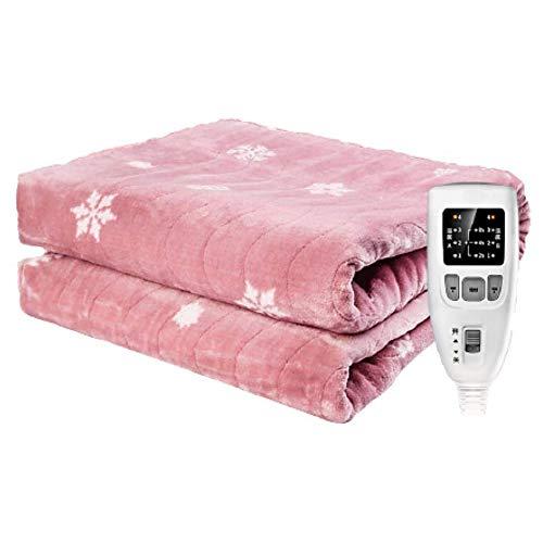 JoyFitness Dubbele elektrische deken, zachte fleece deken, grote verwarmde deken met timer 3 warmtestanden