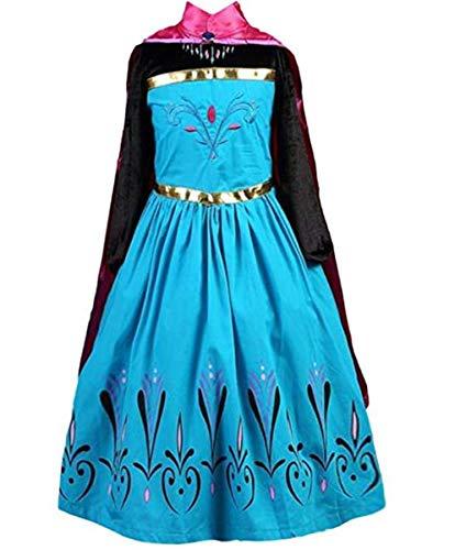 Ramonala Eiskönigin Prinzessin Kostüm Kinder Glanz Kleid Mädchen Weihnachten Verkleidung Karneval Party Halloween Fest, Blau und Lila, Gr. 120= Körpergröße 120cm