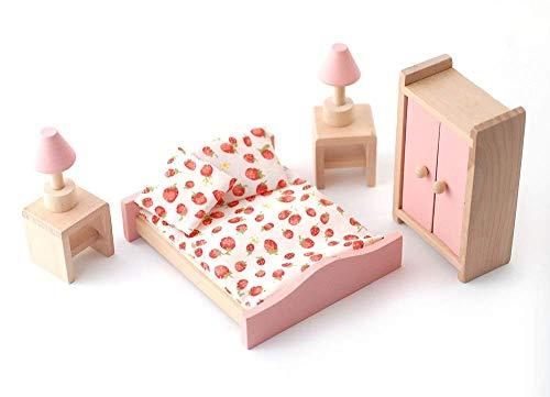 Melody Jane Dolls Houses Puppenhaus Pink Holz Doppel Schlafzimmer Set Miniatur 3 Jahre Plus Möbel