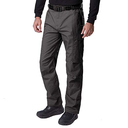 FREE SOLDIER Men's Water Resistant Pants Relaxed Fit Tactical Combat Army Cargo Work Pants with Multi Pocket (Classic Gray 32W/32L)