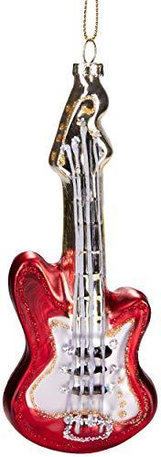 Brubaker Gitarre Rot - Handbemalte Weihnachtskugel aus Glas - Mundgeblasener Christbaumschmuck Figuren lustig Deko Anhänger Baumkugel - ca. 15 cm