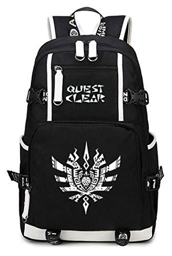 WANHONGYUE Monster Hunter Spiel Leuchtend Backpack Schüler Schultasche Laptop Rucksäcke Freizeittasche Daypack Schwarz-5