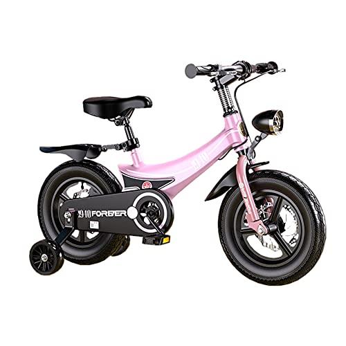 Bambini Aviation Magnesio In Lega Cornice Bike Per Ragazze E Ragazzi Età 3-9 Anni Materiale Di Protezione Ambientale Avanzata Bicicletta Per Bambini Con Ruote Di Allenamento(Size:18Inch,Color:rosa)