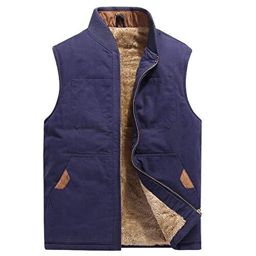 Hommes Coton Multi-Poches Gilet Épaissir Travail Gilet Casual Chaud Veste sans Manche Gilet d'hiver Plus La Taille 5XL-Blue_L