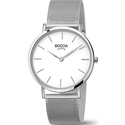 Boccia Damen Analog Quarz Uhr mit Edelstahl Armband 3273-09