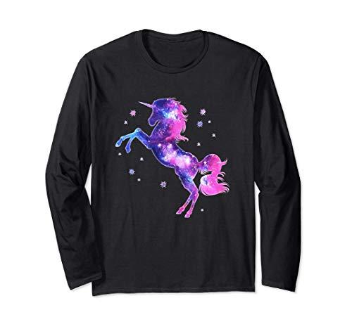 Unicornio, Magia, Estrellas, Espacio, Rosa, Cielo estrellado Manga Larga