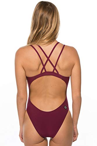 JOLYN Women's Fixed-Back Murray One-Piece Swimsuit (Cabernet, 28)