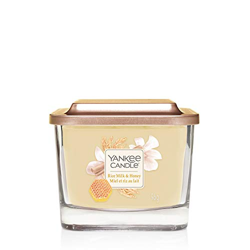 Yankee Candle Small 1-Wick Square Scented Candle with Platform Lid, Elevation Collection, Rice Milk & Honey, Up to 28 Hours Burn Time
