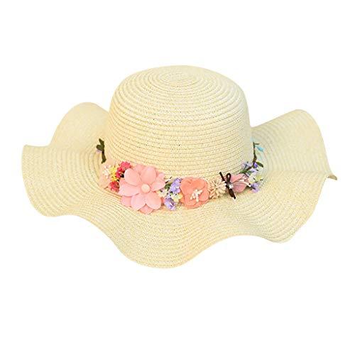 Yesmile Sombrero Sombrero de Playa Paja de Playa para Mujer Sombrero de Panamá Sombrilla de Sol Sombrero Trilby Fedora Gorro de Corona
