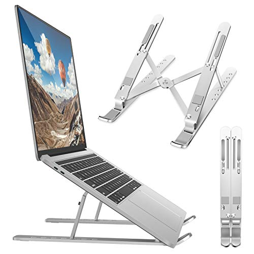 Bamoer Laptop Ständer,Multi-Winkel Einstellbar Notebook Computer Ständer, Faltbar Belüftet Aluminium Laptopständer Kompatibel mit Alle Laptops(Unter 17 Zoll), Phones, Tablets, Kindles, Switches
