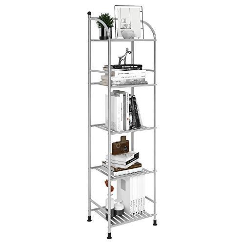 FKUO 5 Tier Bathroom Storage Open Shelf Unit Free-Standing Metal Corner Rack Shelving for Kitchen Living Room Hallway Silver Gray 5 Tier