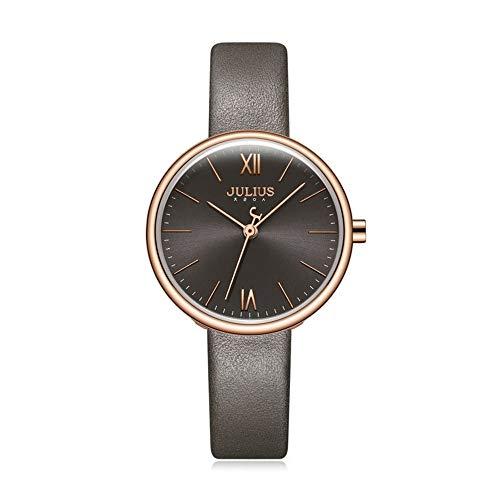 Lishaodonglishaodon Julius - Reloj de pulsera impermeable con correa de piel para mujer, acero inoxidable, E, 30 mm