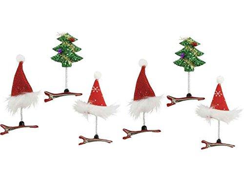 Haarspange Weihnachten 6er Set - Haarklammer, Weihnachtsfeier, Haarclip