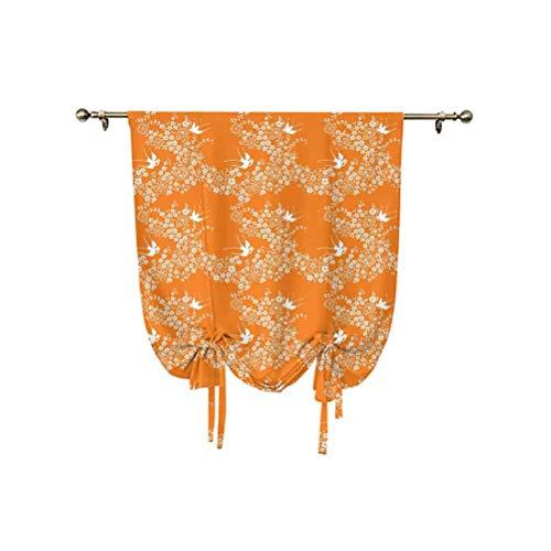 Cortina opaca de estilo asiático con diseño de prado de primavera con ramas en plena flor con pájaros naturaleza, aislamiento térmico, 81 x 107 cm, para decoración del hogar, color naranja y blanco