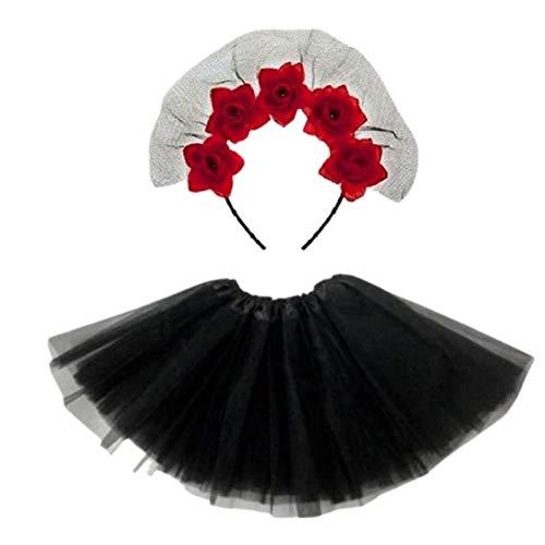 Be-Creative Disfraz de Dia de los Muertos, tamao de las nias mayores (disfraz completo, diadema de velo de rosas rojas y tut negro)