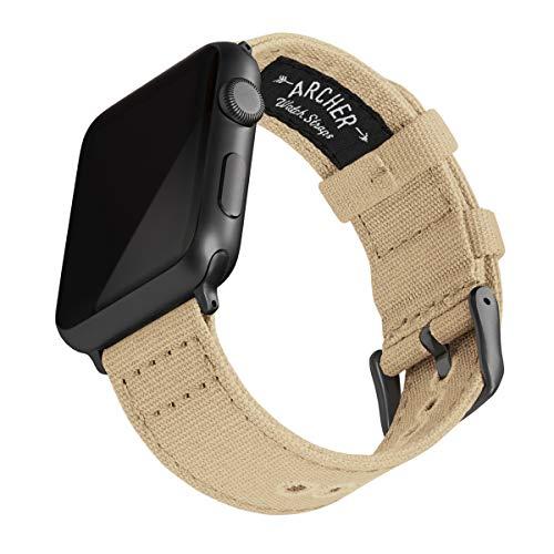 Archer Watch Straps | Correas Reloj Lona para Apple Watch | para Hombre y Mujer (Arena, Gris Espacial, 42/44mm)