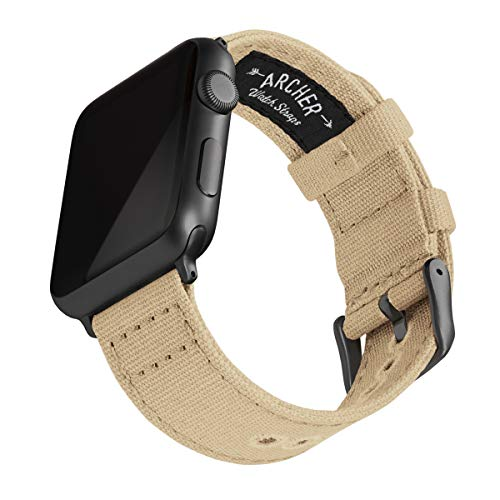 Archer Watch Straps - Canvas Uhrenarmband für Apple Watch (Sandfarben, Space Grau, 42/44mm)