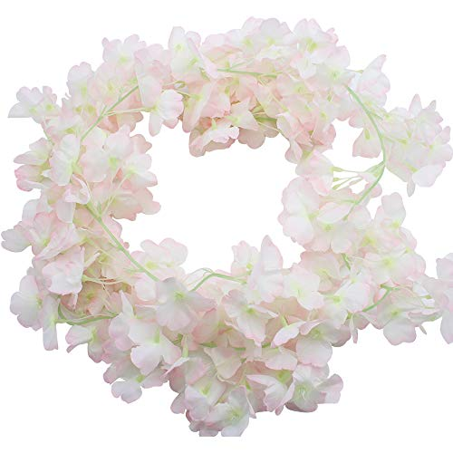 BlueXP 2 Stück 180cm Künstliche Girlande Vines Kirschblüten Blume Hängend Sakura Rattan Dekor Girlande Floriation Home Garten Weihnachten Festival Hochzeit Party Hochzeit Dekor Hellrosa