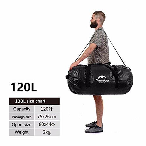 Wasserfeste Reisetasche Rucksack 40L/60L/90L/und 120 Liter - Seesack, Premium wasserdichte Tasche, geeignet zum Kajak-, Boot-, Kanufahren/Angeln/Rafting/Schwimmen/Camping/Snowboarden (Black, 90L)