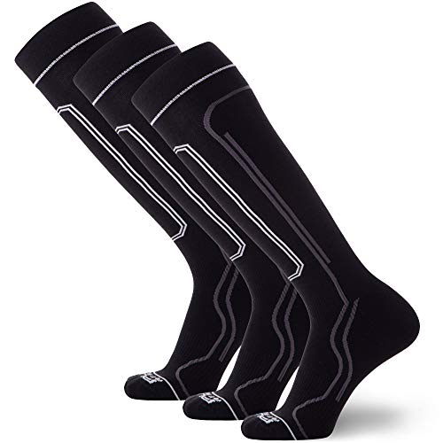Ultra-Thin Lightweight Ski Socks - Snowboarding Skiing Sock, Merino Wool (Large, 3 Pairs - Black)