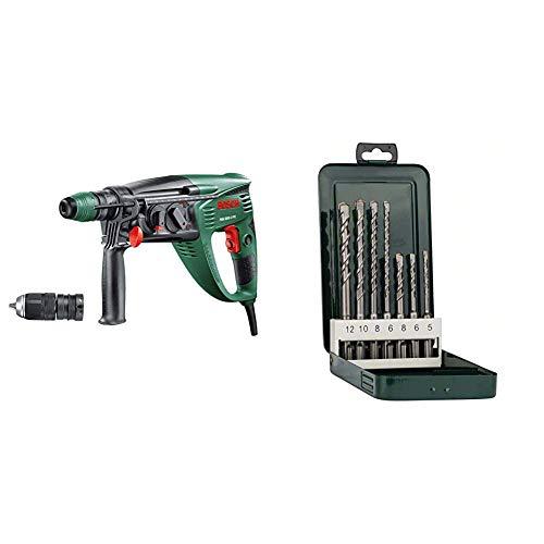 Bosch Bohrhammer PBH 3000-2 FRE (SDS Bohrfutter, Flachmeißel, Tiefenanschlag, Zusatzhandgriff, Koffer, 750 Watt) + Bosch DIY 7tlg. Hammerbohrer-Set SDS-plus