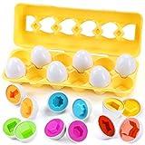 Wishstar juego huevos encajables, 12 pcs regalo de huevo de pascua, matching huevos de forma color juego, color y forma puzzle juguete educativos, regalos de juegos educativo para niños