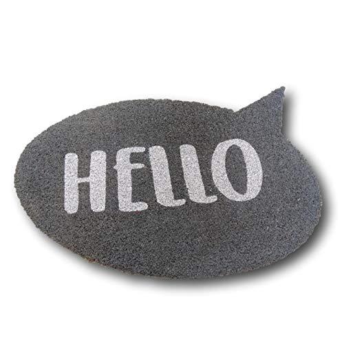 KOOK TIME Koko Doormats Felpudo para Entrada de Casa Original, Modelo Hello, Fibra de Coco y PVC, 57x75 cm …