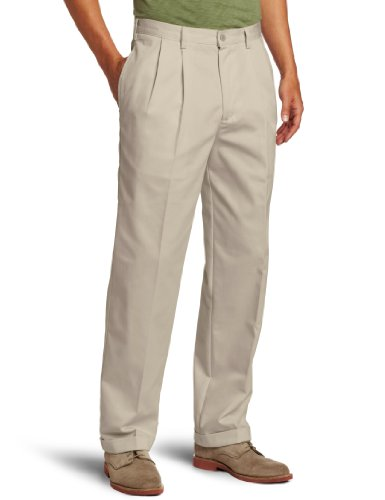 IZOD Men's American Chino Pleated Pant, Khaki, 36W x 34L