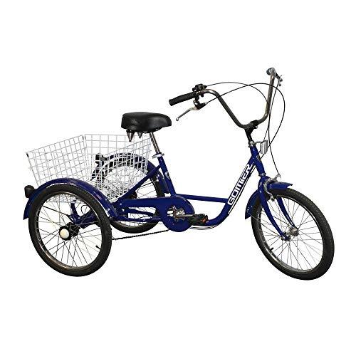 """P2R (Cycle) Tricycle Adulte 20"""" Bleu 5 Vitesses avec Panier (Notice de Montage en Francais) Poids Total Maxi 100kgs empattement 0.80m"""