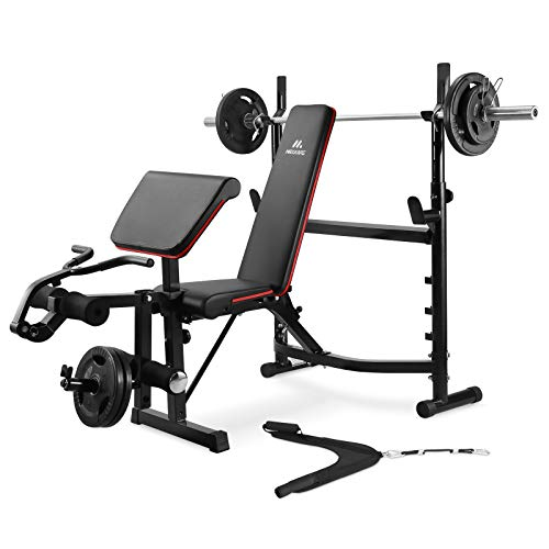 Olympic Weight Bench Adjustable Workout Bench Weight-Lifting Bed Exercise Bench with Squat Rack Leg Extension Preacher Curl Bench for Full Body Workout Strength Training Equipment for Home Gym