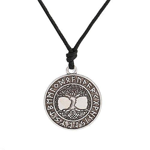 Halskette mit Anhänger, Wicca, nordische Runen, Baum des Lebens, Kordel, antikes Design, Unisex