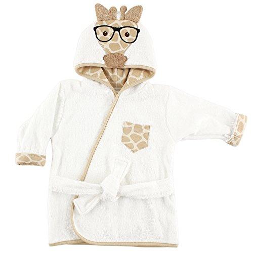 Hudson Baby Unisex Baby Cotton Animal Face Bathrobe, Nerdy Giraffe, One Size