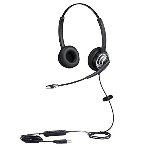 USB Telephone Headset with Noise Cancelling Nuance Dragon Dictation Microphone Computer PC Headset Dual Ear for Skype Chat, Online Learing, Conference Calls, Voice Chat, Softphones Call, Gaming etc