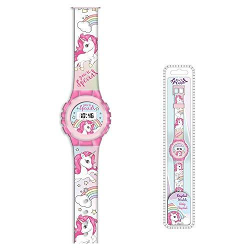 Reloj de pulsera digital para niños, diseño de unicornio 2030, color rosa