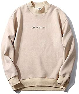 YXHM A M-2XL Size Development!Men's Parker Plain Long-Sleeved Sweatshirt Over-Size Couple Jersey Trainer Suede Deerskin Loose (Color : Beige, Size : XXL)