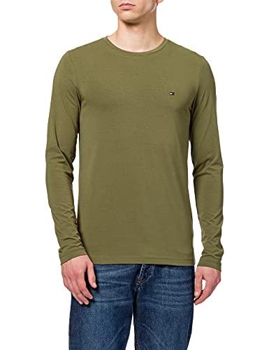 Tommy Hilfiger Stretch Slim Fit Long Sleeve tee Camiseta de Manga Larga, Verde (Putting Green), M para Hombre