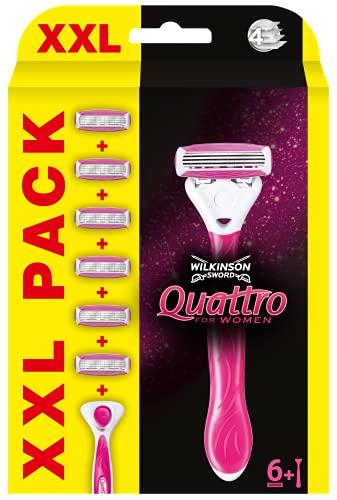 Wilkinson Sword Quattro for Women - Pack XXL 1 Cuchilla de Depilación Mujer + 6 Recâmbios de Cuchillas, Rosa, 7 Unidades
