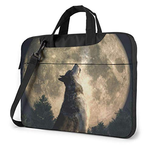 Wolf Howls at The Moon Bolso Bandolera para portátil, Estuche de Transporte para portátil de 15,6 Pulgadas con