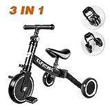 besrey 3 in 1 Laufräder Laufrad Kinderdreirad Dreirad Lauffahrrad Lauflernhilfe für Kinder ab 1 Jahre bis 5 Jahren - Schwarz