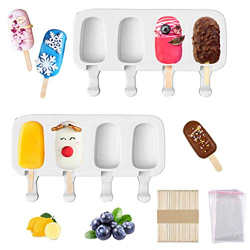 2 Pack Popsicle Molds Set Ice Cream Mold Silicone Ice Pop Molds BPA Free Homemade Popsicle Cakesicle Molds Silicone Ice Cake Pop Mold with 50 Wooden Sticksamp50 Popsicle Bags