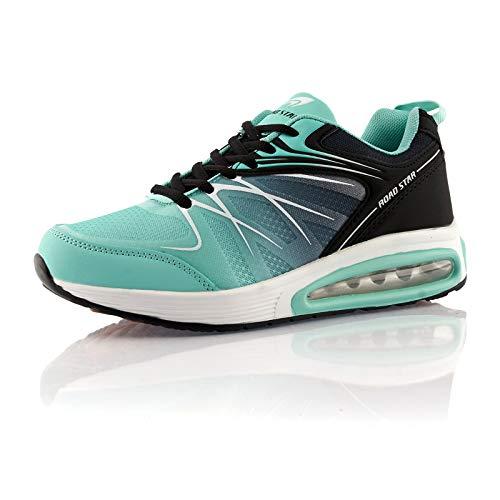 Fusskleidung® Damen Herren Sportschuhe Dämpfung Sneaker leichte Laufschuhe Türkis Schwarz EU 36