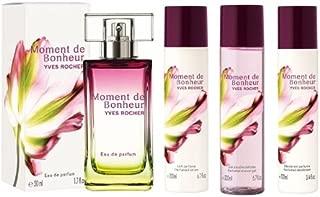 Yves Rocher Moment de Bonheur  Eau de Parfum 4-piece Gift Set: Moment de Bonheur Eau de Parfum, 50 ml/  Perfumed Body Lotion, 200 ml/ Perfumed Shower Gel, 200 ml/ Perfumed Spray Deodorant, 100 ml/ Limited Edition/  France