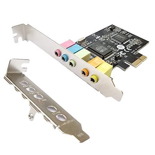 HINYSENO PCI-E CMI8738 5.1 Channel Stereo Sound Card Signal-Noise-Reduction Win XP Win 7  Win 8  Win 10, 32Bit 64Bit
