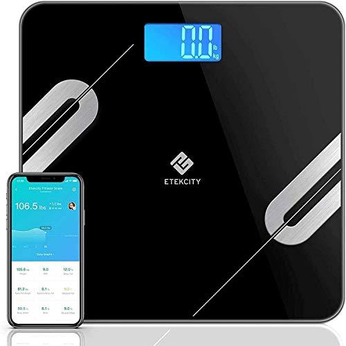 Etekcity Báscula Grasa Corporal Digital Bluetooth de Baño con Superficie Grande (30 x 30 cm), Monitores de Composición de 12 Funciones (5-180 kg), Android y IOS, Negra, ESF37