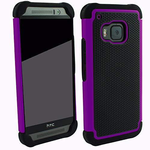 Outdoorschutzhülle für HTC ONE M9 Hülle Violett inkl. Bildschirmglas transparent Outdoor Cover Hybrid Schutz Hülle Sturz Bumper Folie Schwarz Black Violett