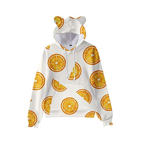 GYINGY Cat Ear Hoodies Fresh Fruit Series Unisex 3D Pullover Hoodie für Männer Frauen Langarm Kapuzenpullover-L